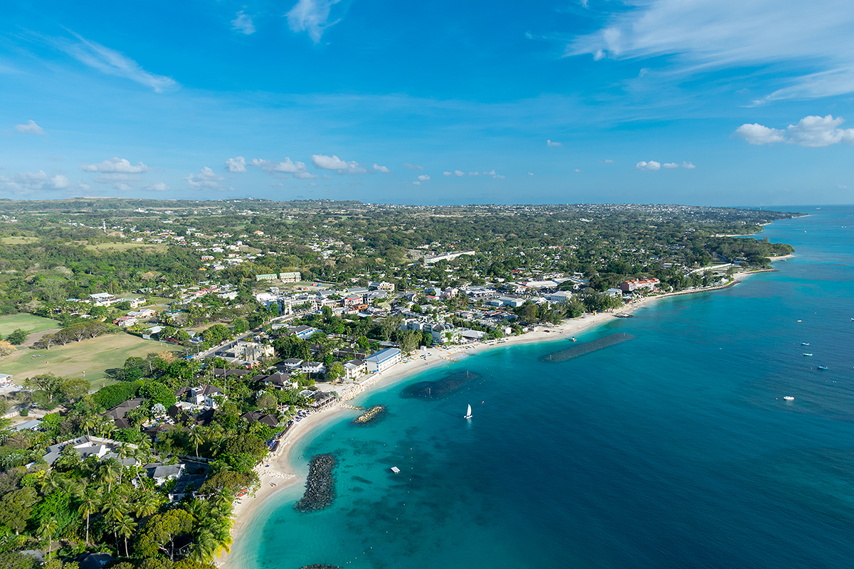 Aerial view of Holetown, St. James, Barbados