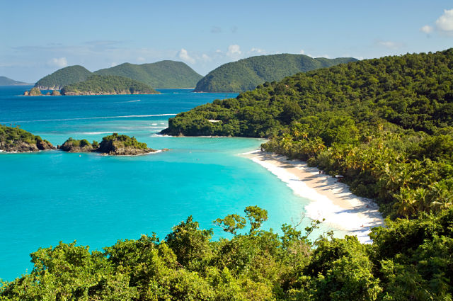 White sandy beach of Trunk Bay on St. John in the US Virgin Islands in the Caribbean